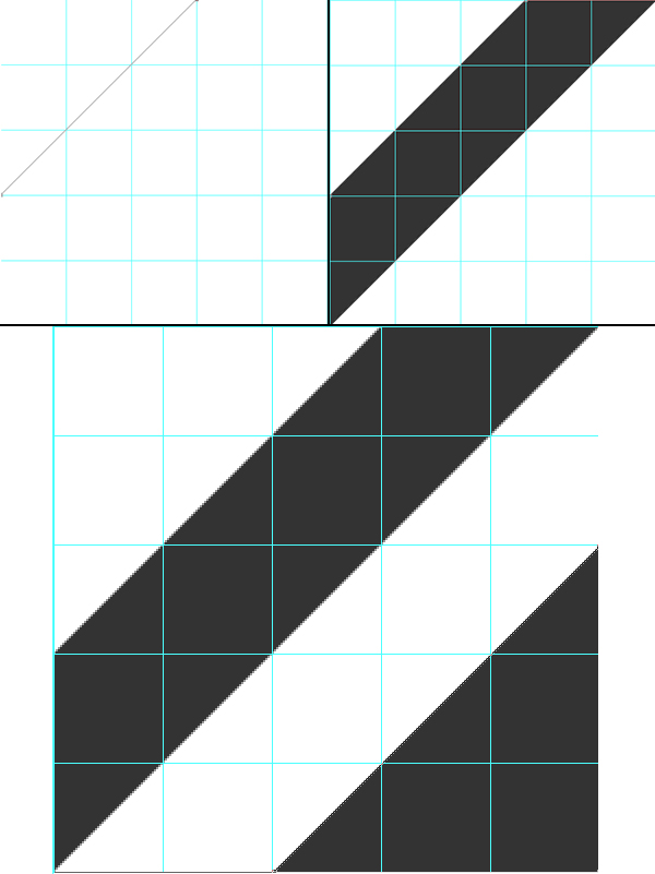 Draw a diagonal strip and triangle in the lower left of the layout grid