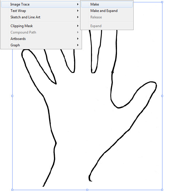 Prepare your traced hand image