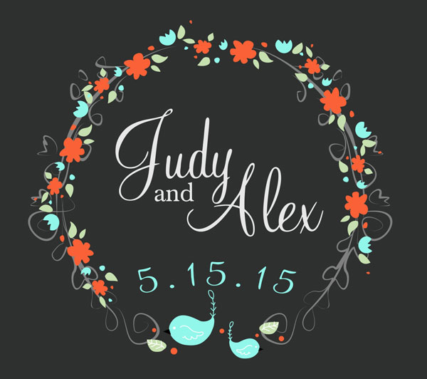 Final product wedding card with floral wreath