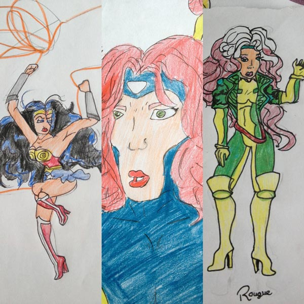 Daniels childhood drawings of Wonder Woman and X-Men characters