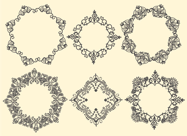 a whole set of ornate frame designs