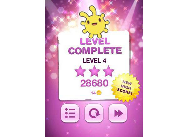 Star Doll Level Complete screen designed by Anneli Olander Berglund during her time with the company