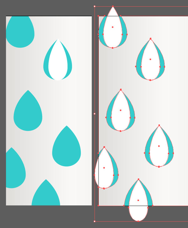 Draw narrow raindrop shapes