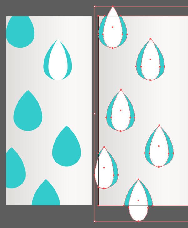 Draw narrow raindrop shapes