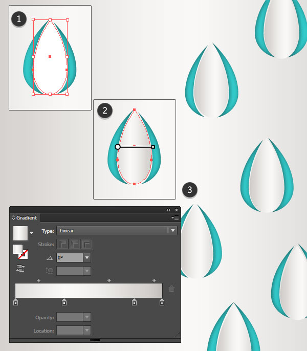 Add small gradient raindrops to the design