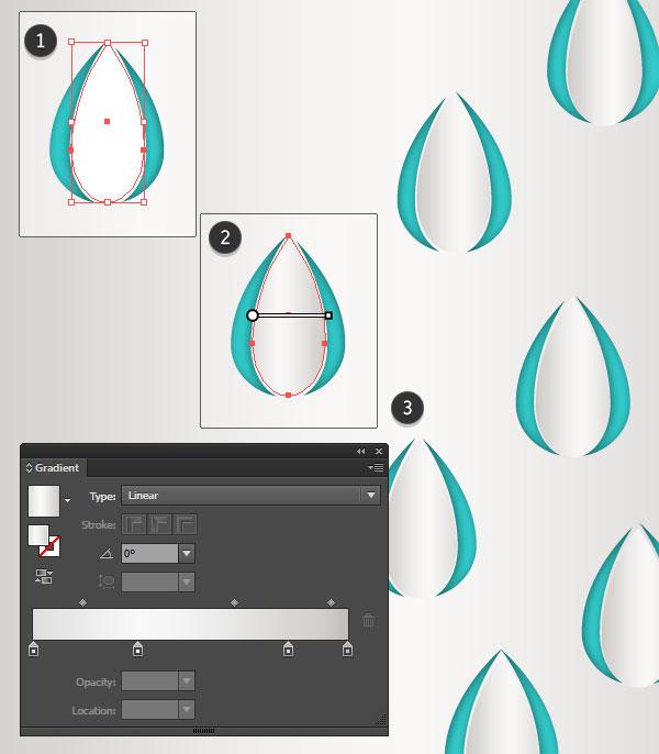 Add small gradient raindrops to the design
