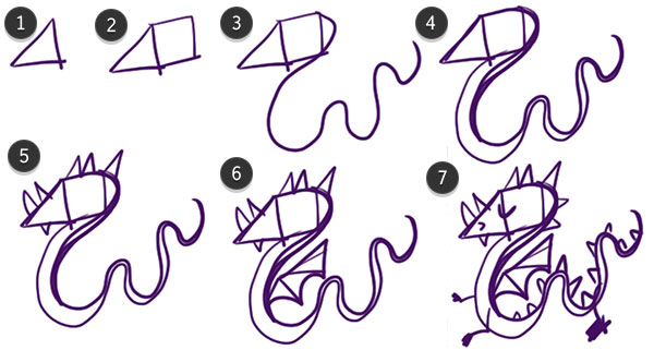 Draw the dragon from simple shapes