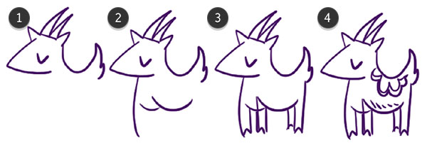 Draw the goats body