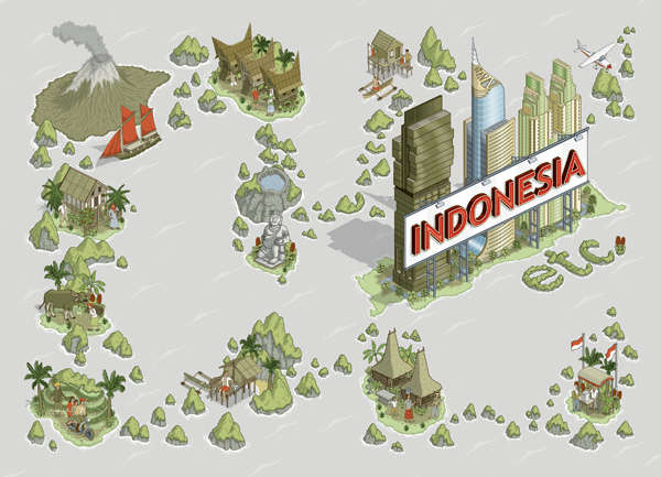 Indonesia etc isometric illustration