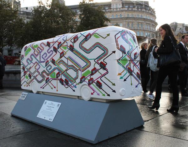 London takes the bus sculpture