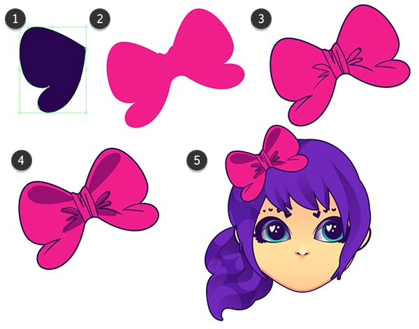 Draw a cute bow for your characters head