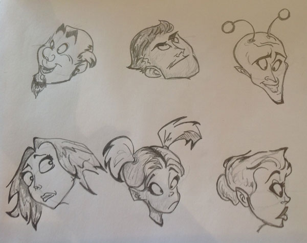 Krissis cartoon face sketches