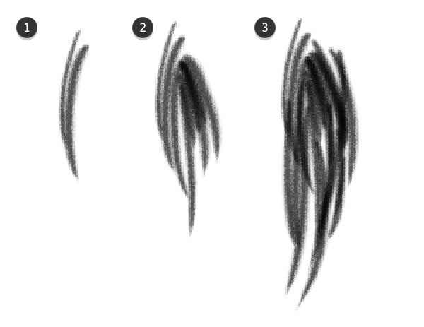 Draw a tuft of hair for a simple pre-rendered brush style