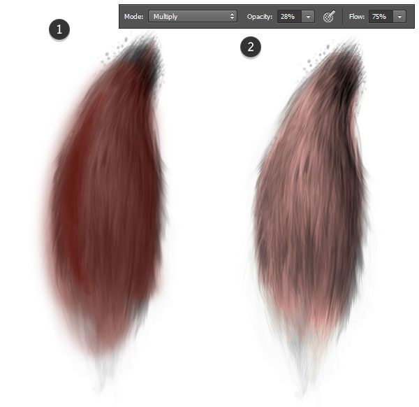 Create a layer of lighter brown set to color dodge