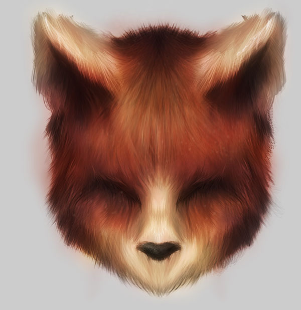 Final fox face using the custom brush set made previously