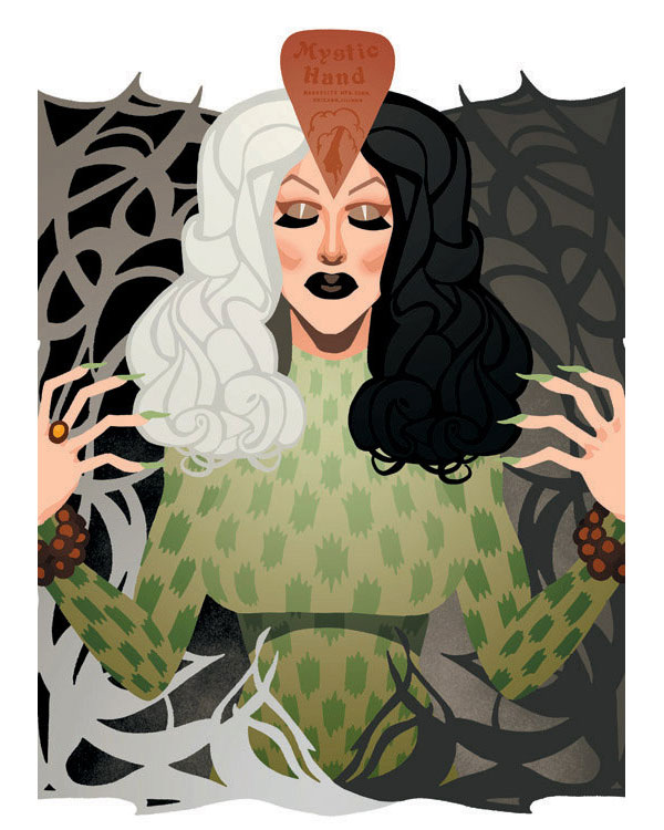 One of Chads art prints featuring Rupauls Drag Race season 4 winner Sharon Needles
