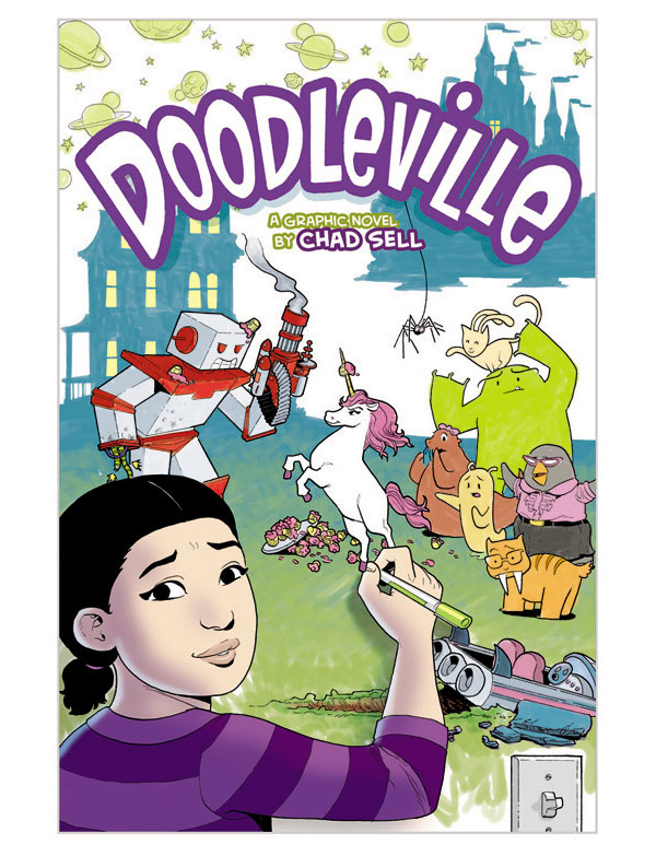 The cover to Chads graphic novel Doodleville