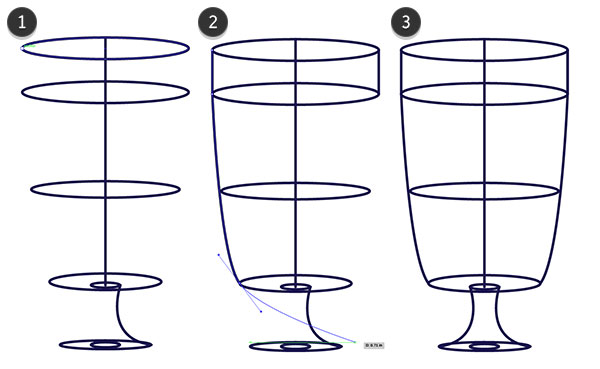 Draw the glass itself