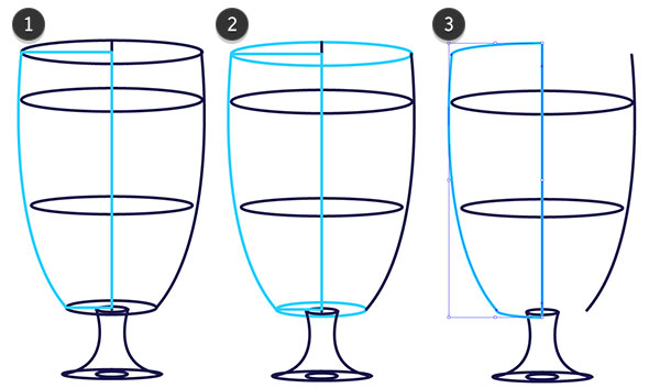 Draw the bowl or body of the glass