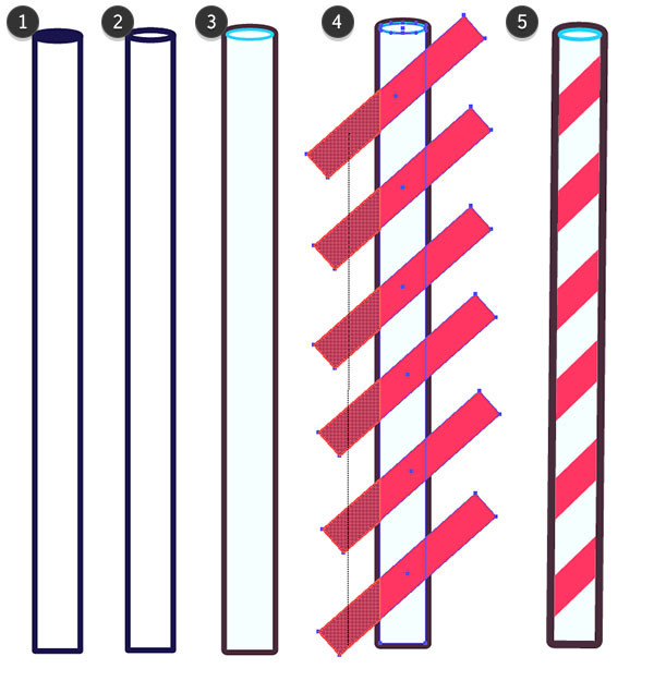 Draw a red striped straw