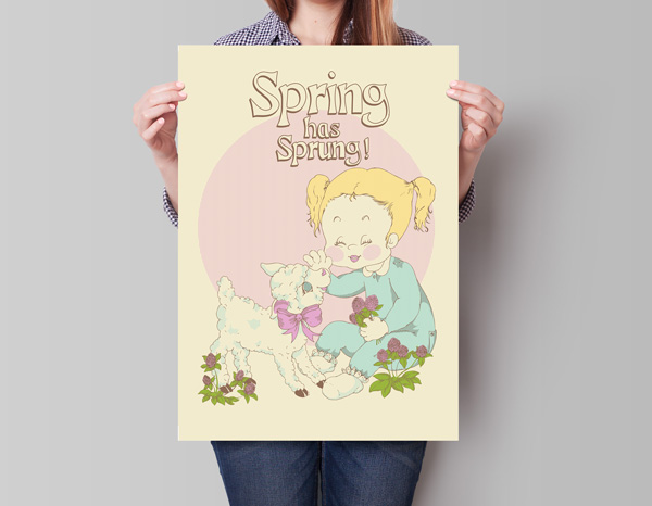 Finished design of vintage spring poster
