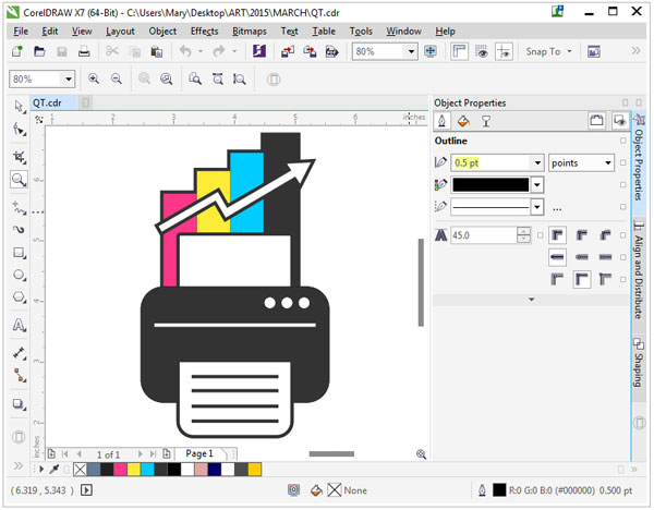 corelDRAW interface