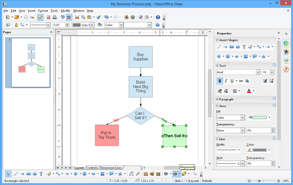OpenOffice Draw user interface