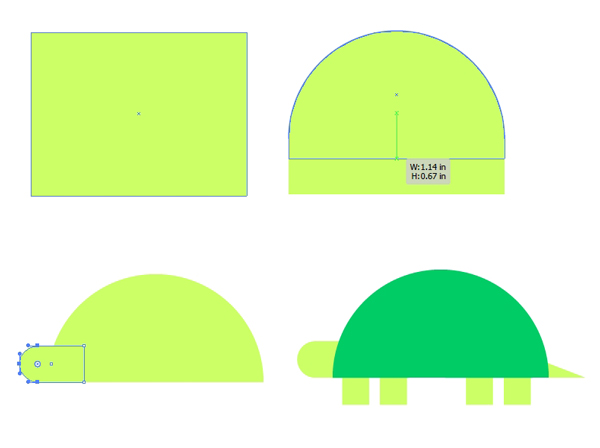 Create a turtle from basic shapes