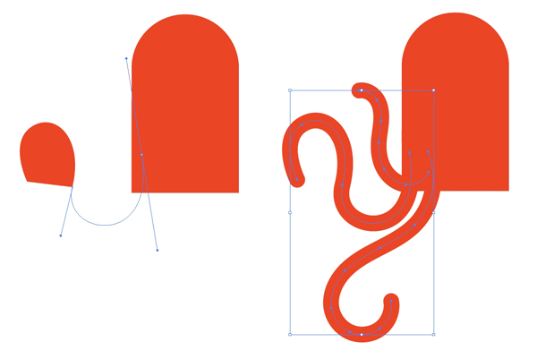 Draw tentacles with the pen tool