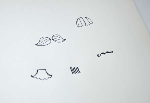 Draw various mustache shapes