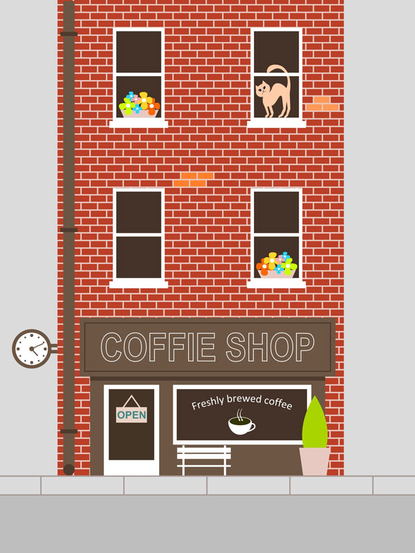 Elena shared her own version of this fantastic coffee shop facade design from a tutorial by Alexandra Martin adding a cute pink cat in the upper right window