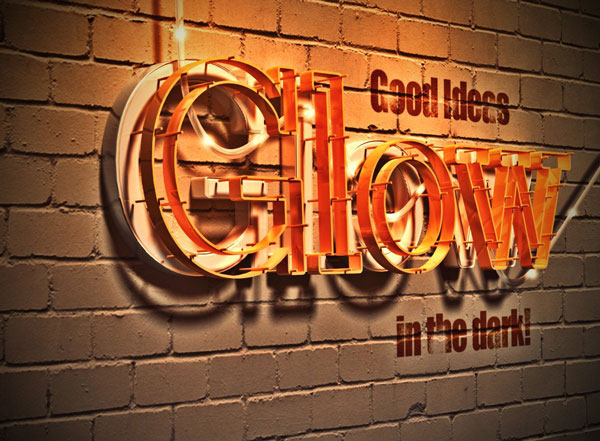 User 8redfish added alternative effects to a 3D glowing text effect from a tutorial by Rose