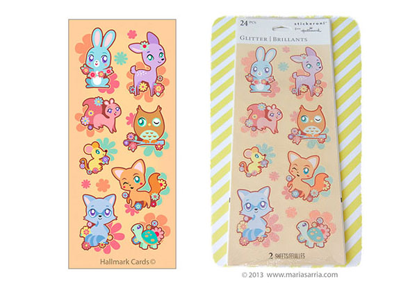 Sticker designs for Stickeroni and Hallmark Cards by Maria Sarria