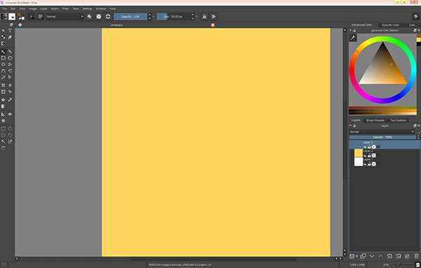 Create a document and fill you layer with yellow