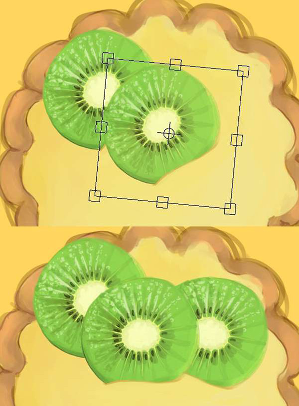 Copy Paste and Rotate your kiwis around the tart