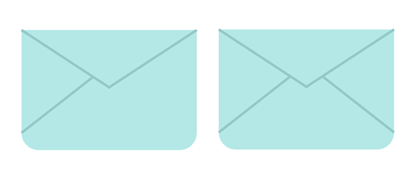 Draw two more lines to complete the envelope