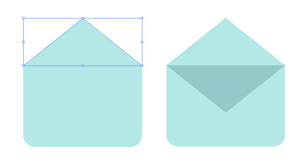 Create the flap and opening of the envelope with a triangle