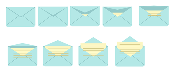 place rectangles over each envelope