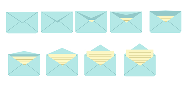 Group each of your envelopes to prepare them for animating