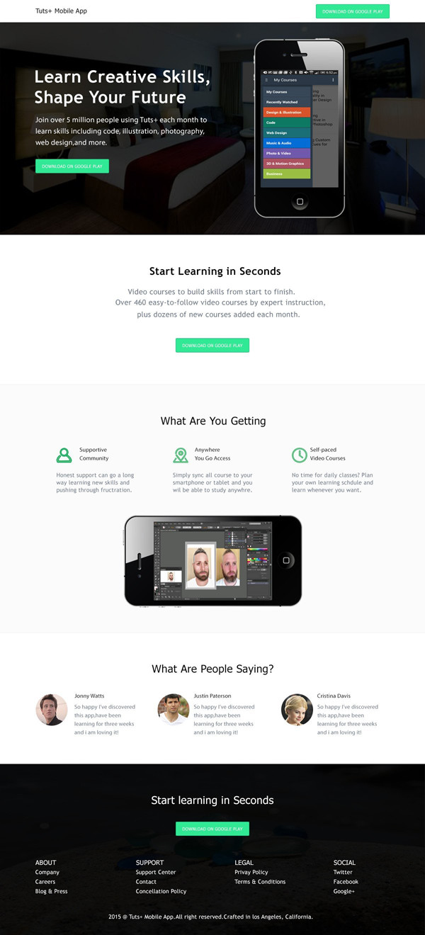 Muhammad Awais shared his well crafted version of an app landing page designed in Adobe Photoshop thanks to a tutorial by Tomas Laurinavicius