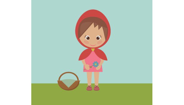 User useong shared their version of a sweet Little Red Riding Hood design created with basic shapes from a tutorial by Nataliya Dolotko