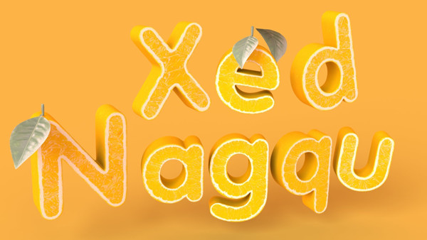 User Xed shared their deliciously personalized result from a citrus inspired 3D text effect tutorial by Tomasz Lechocinski