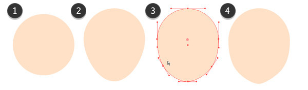 Adjust a circle to form a head