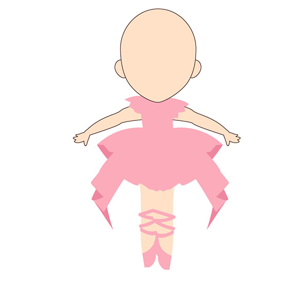 Place the legs beneath the dress and arm outlines above the arms