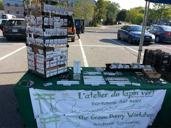 The Green Bunny Workshop booth at an outdoor art fair