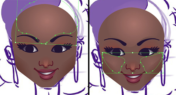 Draw highlight shapes on the forehead and cheeks