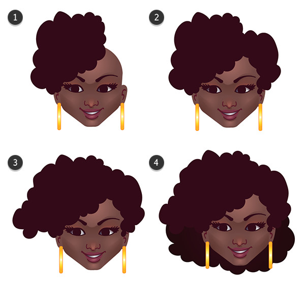 Drawing the hair in four quick steps