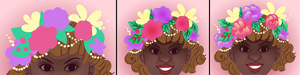 Add details shadows and highlights to the flower crown