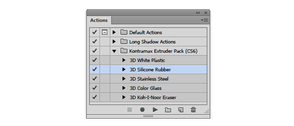 Load the 3D silicon rubber action in the actions panel