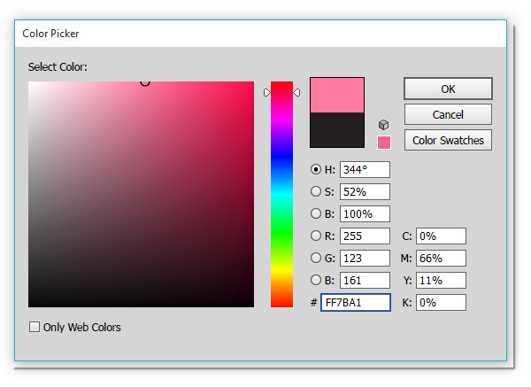 Change the color with the color picker